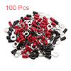 100pcs 6mm Hole Dia Black Red Insulated Spade Wire...
