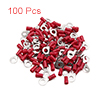 100pcs 6mm Hole Dia Red Insulated Spade Wire Termi...