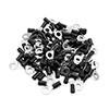 100pcs 6mm Hole Dia Black Insulated Spade Wire Ter...