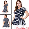Women Plus Size Short Sleeves Polka Dots Peplum To...