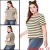 Women Plus Size Short Sleeves Ruffled Striped T-sh...