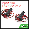 2pcs 1m Wire Length Red LED Car Cigarette Lighter ...