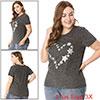 Women Plus Size Round Neck Stars Pattern Glitter T...