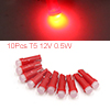 10Pcs T5 Ceramics Base 12V 0.5W Red LED Car Dash P...