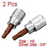 2Pcs 3/8-Inch Drive 5mm Hex Bit Socket, S2 Steel