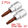 2Pcs 3/8-Inch Drive T30 Torx Bit Socket, S2 Steel