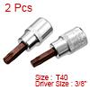 2Pcs 3/8-Inch Drive T40 Torx Bit Socket, S2 Steel