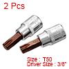 2Pcs 3/8-Inch Drive T50 Torx Bit Socket, S2 Steel