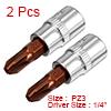 2Pcs 1/4-Inch Drive PZ3 Pozi Bit Socket, S2 Steel