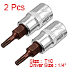 2Pcs 1/4-Inch Drive T10 Torx Bit Socket, S2 Steel