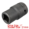 1-inch Drive 21mm 4-Point Deep Impact Socket, Cr-V...