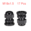 17Pcs M18 Cable Gland Waterproof Connector Plastic...