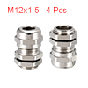 4Pcs M12 Cable Gland Metal Waterproof Connector Wi...
