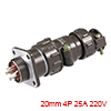 Aviation Connector, 20mm 4P 25A 220V P20-4 Waterpr...