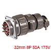 Aviation Connector, 32mm 8P 50A 175V P32-8  Waterp...