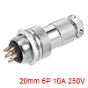 Aviation Connector, 20mm 6P 10A 250V M20-6 Waterpr...
