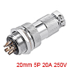 Aviation Connector, 20mm 5P 20A 250V M20-5 Waterpr...