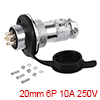 Aviation Connector 20mm 6P 10A 250V M20-6 Waterpro...