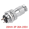 Aviation Connector, 20mm 3P 20A 250V M20-3 Waterpr...