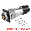 Aviation Connector, 24mm 10P 10A 500V WS24-10 Wate...