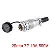 Aviation Connector, 20mm 7P 10A 500V WS20-7 Waterp...