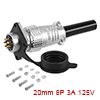 Aviation Connector, 20mm 8P 3A 125V P20-8 Waterpro...