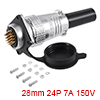 Aviation Connector Plug,28mm 24 Pin 7A 150V P28-24...