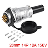 Aviation Connector, 28mm 14P 10A 150V P28-14 Water...