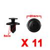 11Pcs 8mm Black Plastic Rivets Push Type Panel Ret...