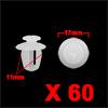 60Pcs 11mm White Plastic Rivets Fender Trunk Retai...