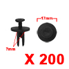 200Pcs 7mm Black Plastic Rivets Push Type Panel Re...