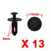 13Pcs 8mm Black Plastic Rivets Push Type Trunk Ret...