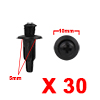30Pcs 5mm Black Plastic Rivets Push Type Carpet Re...