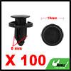 100Pcs 8mm Black Plastic Rivets Push Type Car Dash...