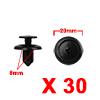 30Pcs 8mm Black Plastic Rivets Push Type Trunk Ret...