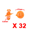 32Pcs 9.5mm Orange Plastic Rivets Fender Trunk Ret...