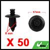 50Pcs 8mm Black Plastic Rivets Push Type Panel Ret...