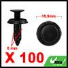 100Pcs 6mm Black Plastic Rivets Push Type Panel Re...