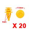 20Pcs 9mm Yellow Plastic Rivets Fender Trunk Retai...