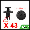 43Pcs 6mm Black Plastic Rivets Push Type Panel Ret...