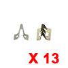 13pcs Brass Tone Metal Rivets Door Trim Bumper Fas...