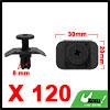 120Pcs 8mm Black Plastic Rivets Push Type Panel Re...