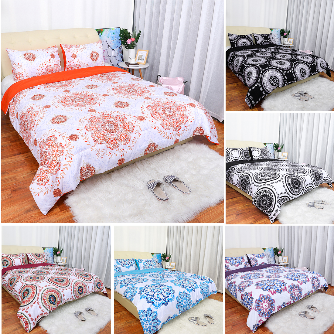 3 Pieces Indian Mandala Duvet Bedding Hippie Bohemian Quilt