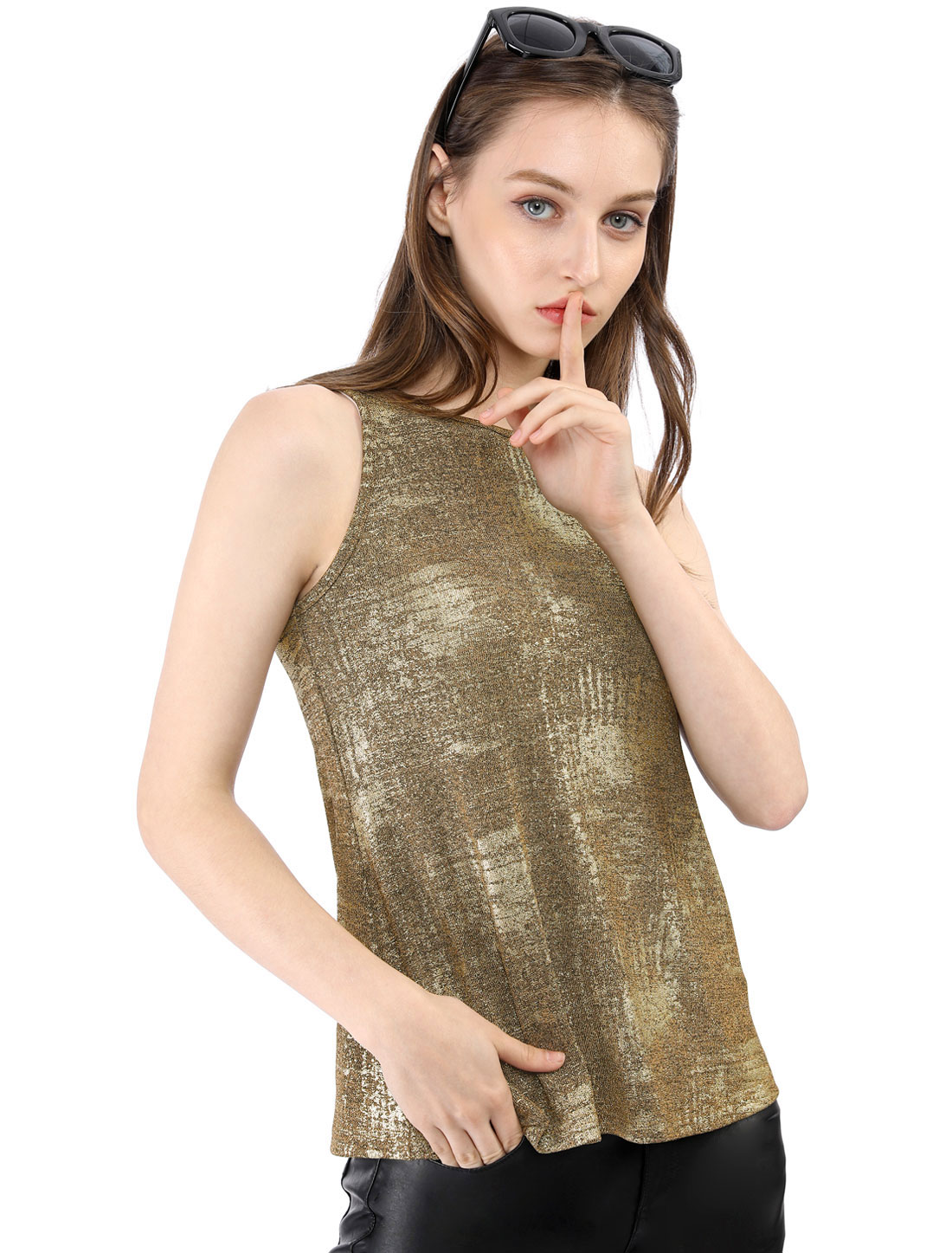 Allegra K Women's Metallic Shiny Tank Party Shimmer Camisole