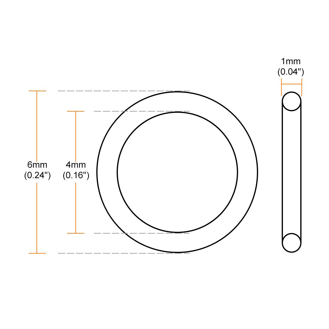 Fluorine Rubber O Rings 6mm OD 1mm Width Seal Gasket Green 20 Pcs 4mm ID
