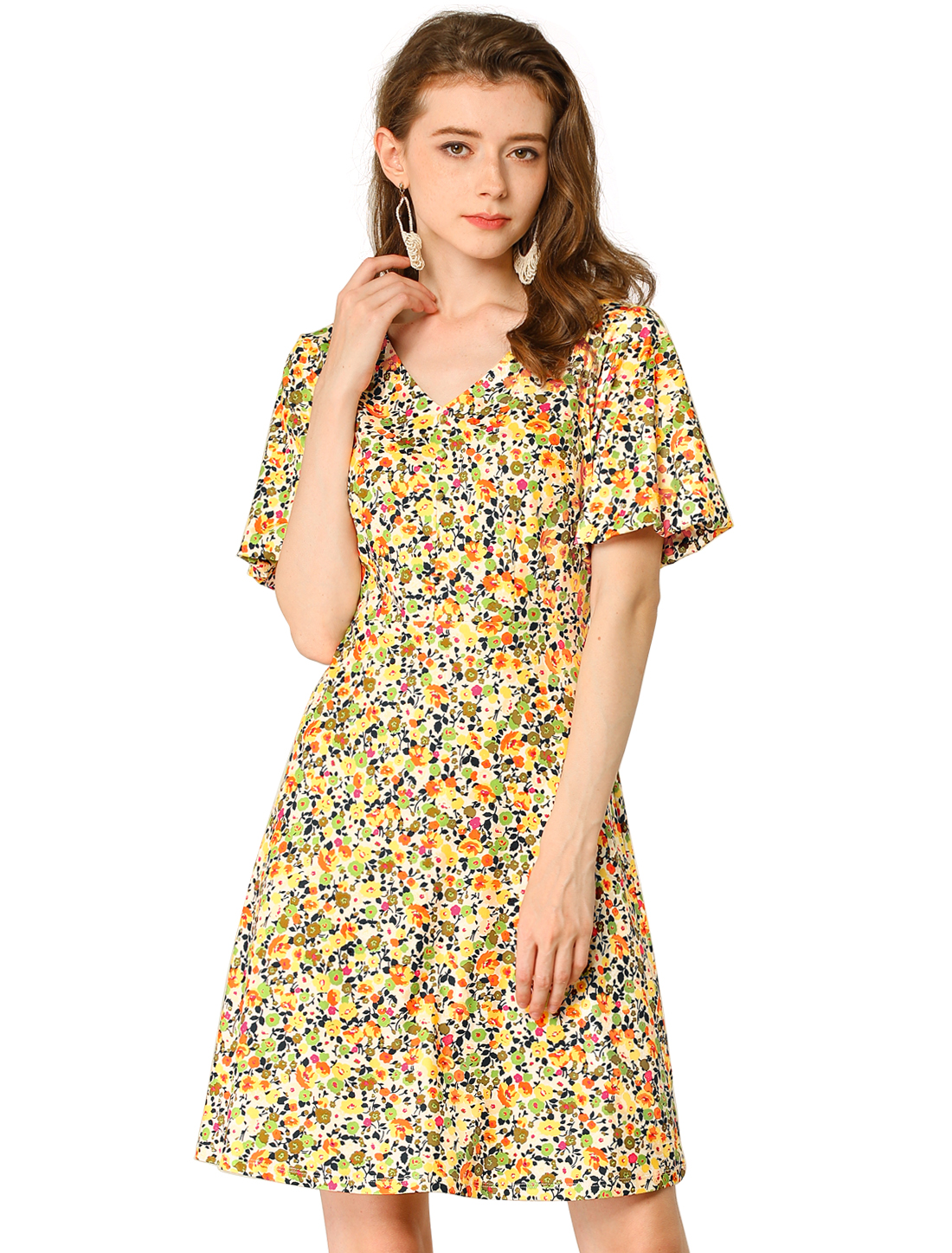 Allegra K Women/'s Boho Floral Shore Sleeve V Neck A Line Dress