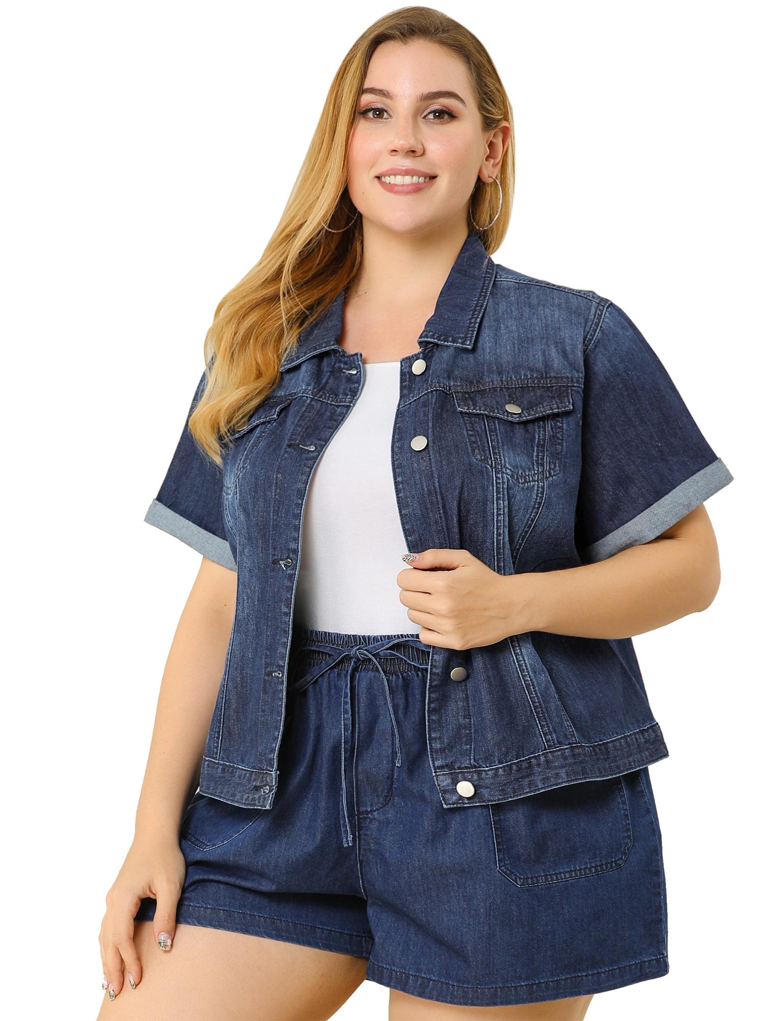 thumbnail 7 - Women's Plus Size Denim Jacket Button Crop Short Sleeve Jackets